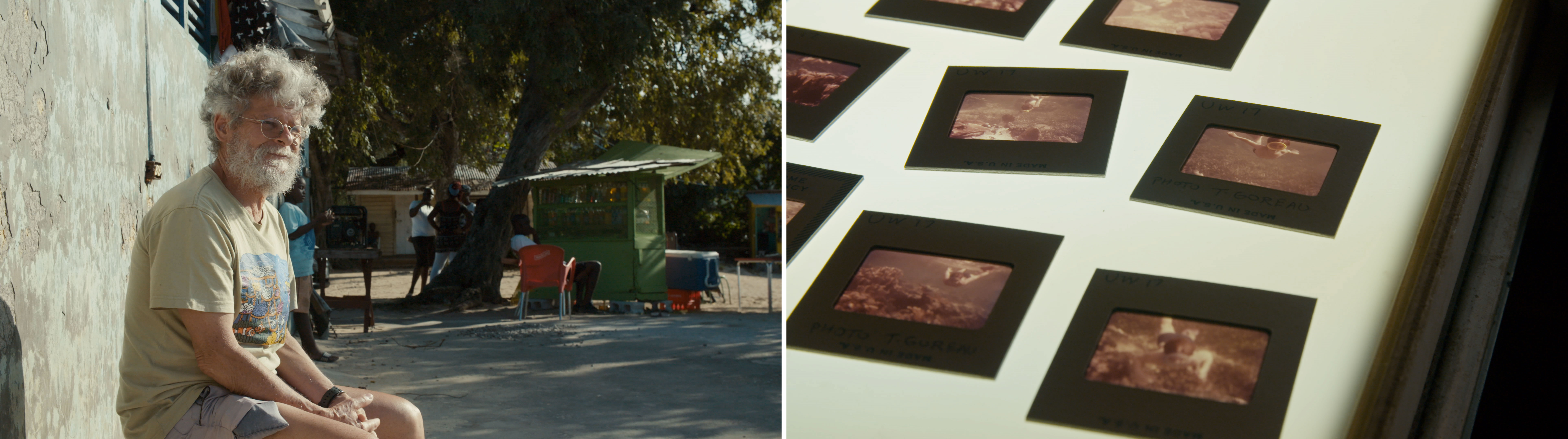 "Stills from the film ""Coral Ghosts"" show Tom Goreau sitting on an outdoor bench and slides on a light table"
