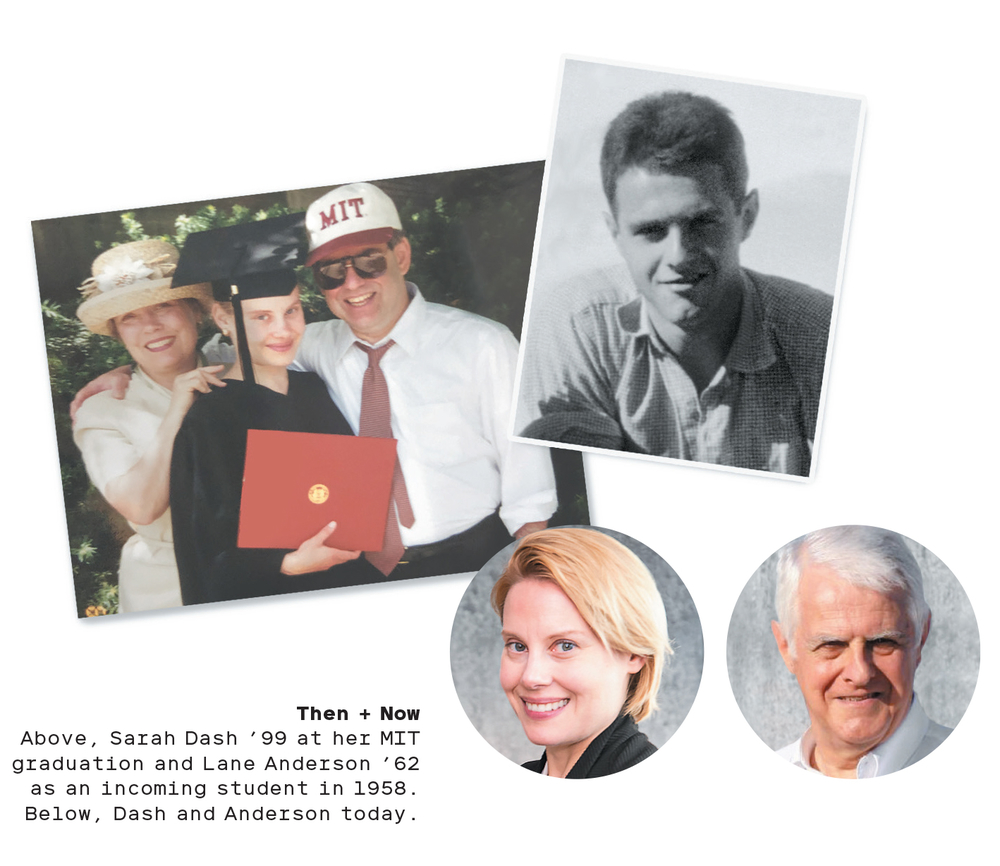 A photo collage of Sarah Dash '99 and Lane Anderson '62