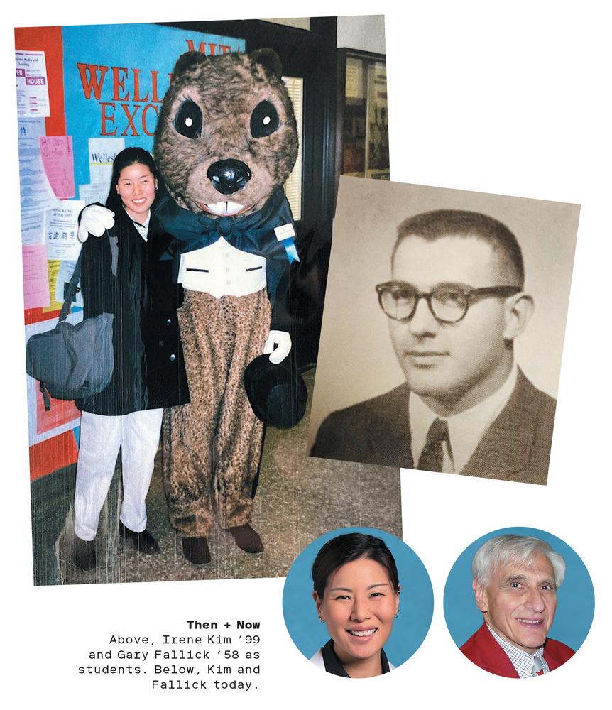 Photo collage of Gary Fallick '58, SM '60, and Irene Kim '99
