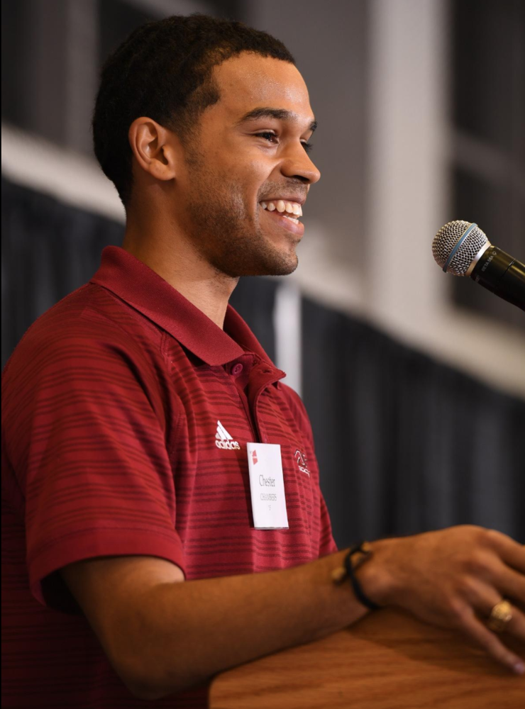 Chester Chambers '15 speaks at the MIT Men's Soccer 100 Year Celebration in 2018.