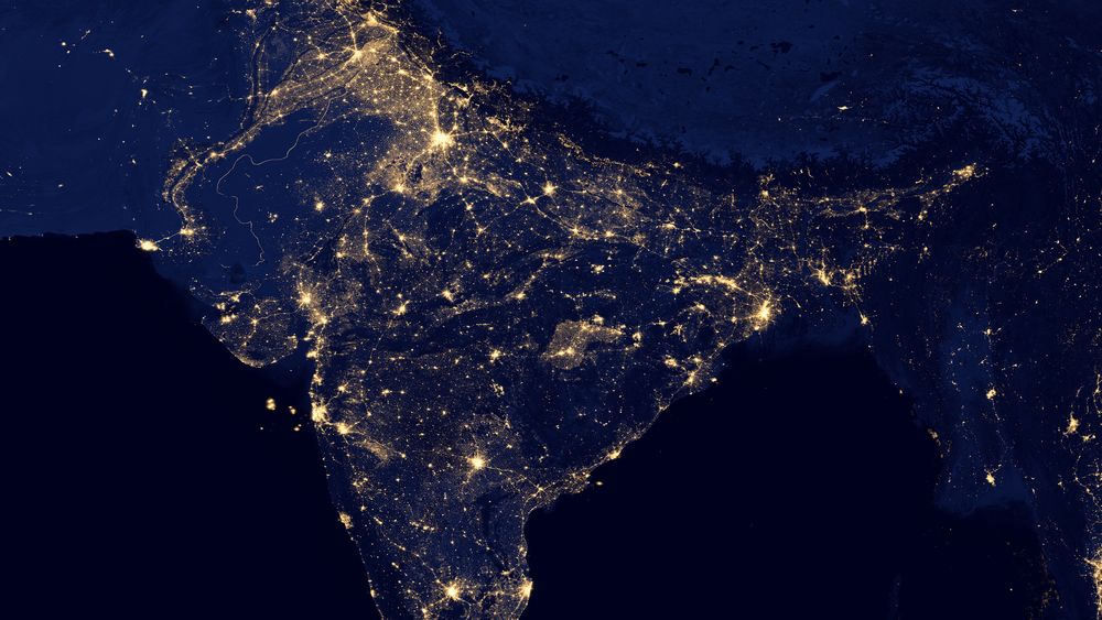 India, as seen at night from space.