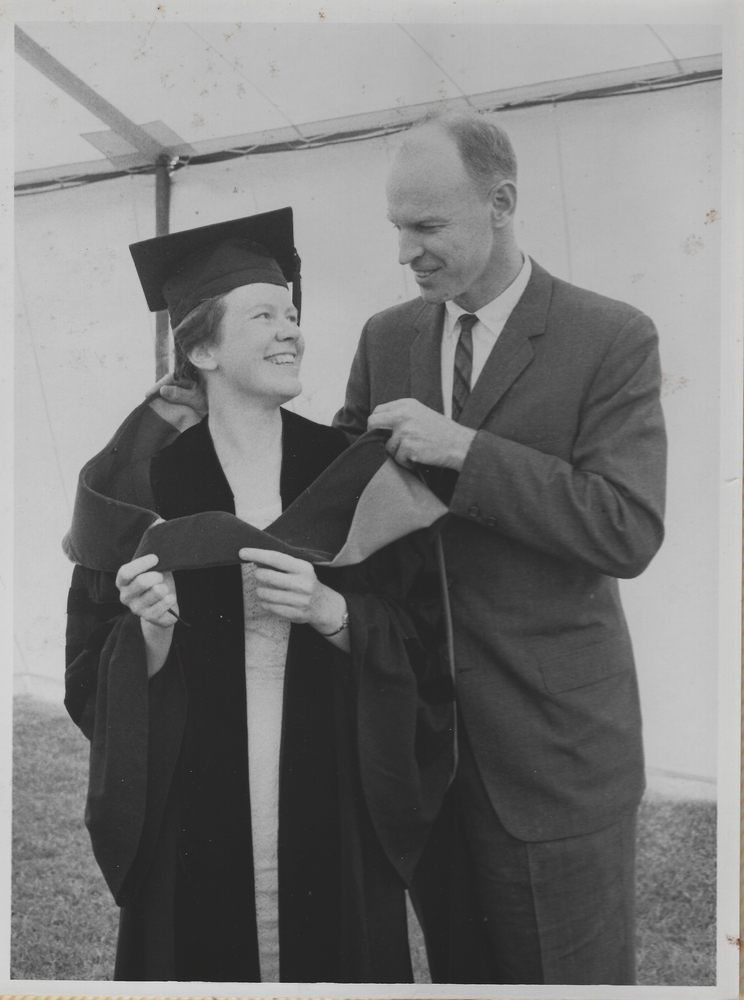 A Boston Herald newspaper clipping shows a young Partee at her MIT Commencement with her brother