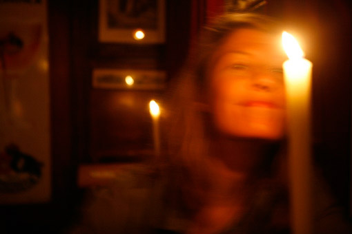 A woman friend in candlelight.