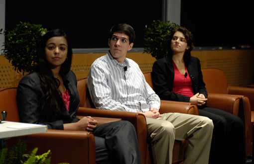 From left: Seniors Sonya Makhni, Ryan Schoen, and Anna Waldman-Brown listen as classmate Leif Francel gives his presentation as part of the student life panel.