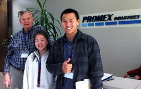 From left: Richard Otte '61, SM '64, president and CEO, Promex Industries Inc. with 2012 externs Rachel Luo '14 and Grant Iwamoto '13