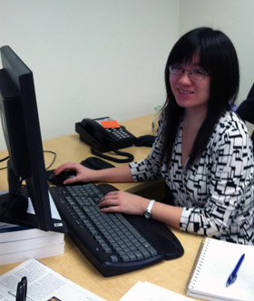 Kimberly Li '12 hard at work.