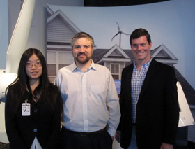 From left: Externs Fan Wei '12, grad student Jorge Moreno, and host Jon Garrity '11