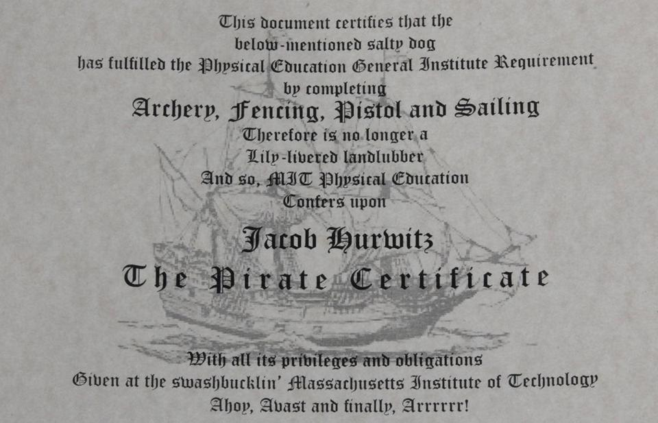 Official MIT pirates certificate.