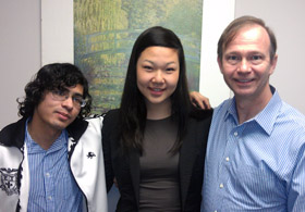 From left: Nasir Adaya '14, Angela Ha '15, and David Karohl '85, SM '86.
