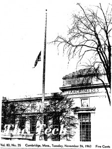 The 1963 Tech photo shows a flag flown at half mast to honor JFK.