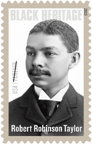 Taylor's photograph on the stamp was taken circa 1890, when he was an MIT student. Photo: MIT Museum.