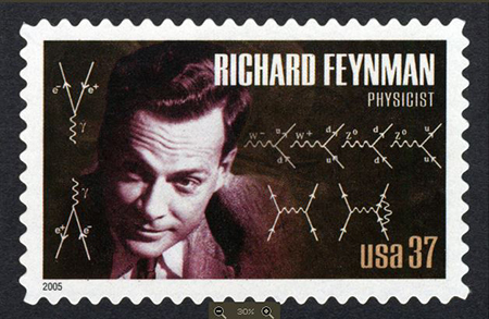 US postage stamp featuring Richard Feynman