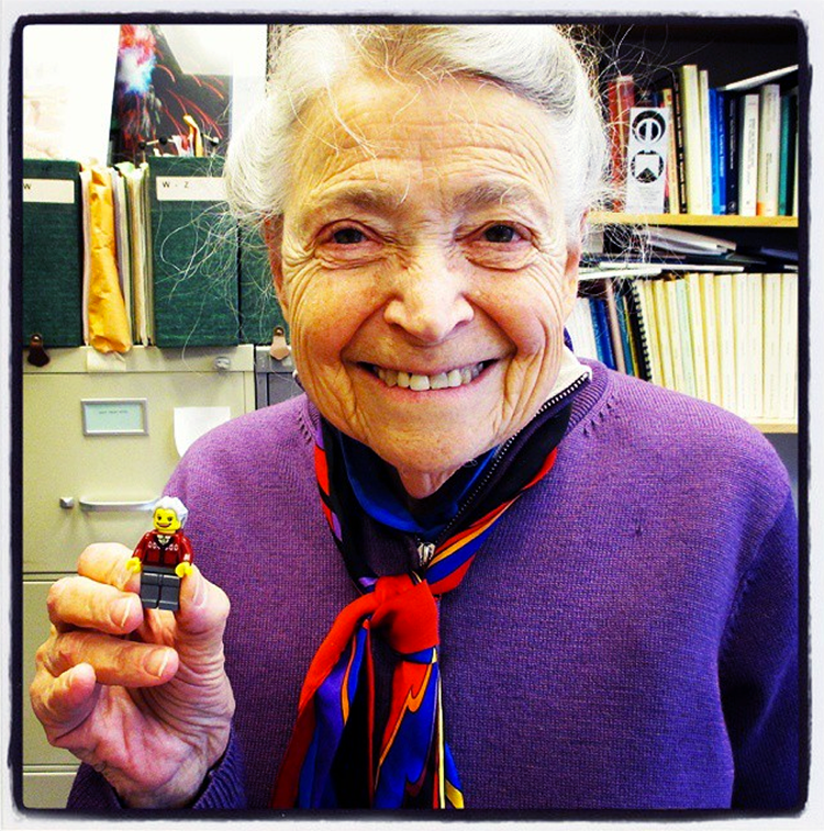 Professor Dresselhaus poses with a Lego Millie, created by Maia Weinstock, MIT News Office deputy editor, who creates custom Lego figures of scientists and engineers as an avocation. Photo: Maia Weinstock