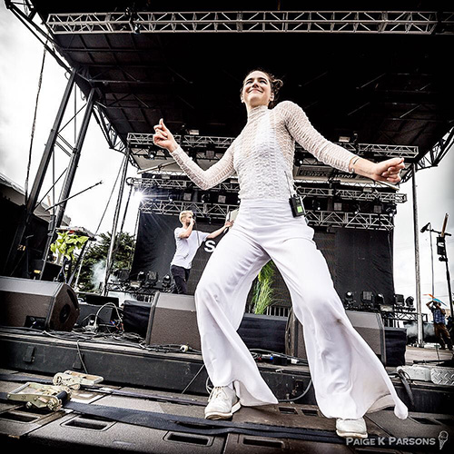 SofiTukker—2017 Grammy nominee—performing at the Treasure Island Music Festival, San Francisco, CA (© Paige Parsons).