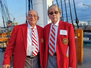 Bob Silver '62, SM '63, left, and Miles Goff '62, SM '66, at a reunion activity on the USS Constitution.