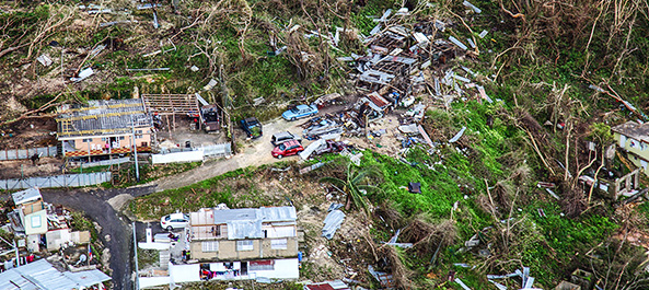 Homes in Puerto Rico lay in ruins after Hurricane Maria hit the island.