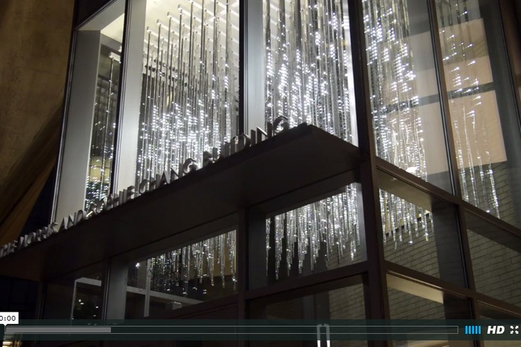 You can visit Light Matrix (MIT), a permanent installation in the Sloan School.