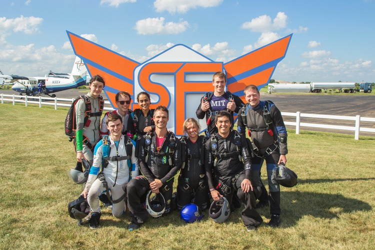 Nine MIT alumni jumped from a plane and formed a T for Tech