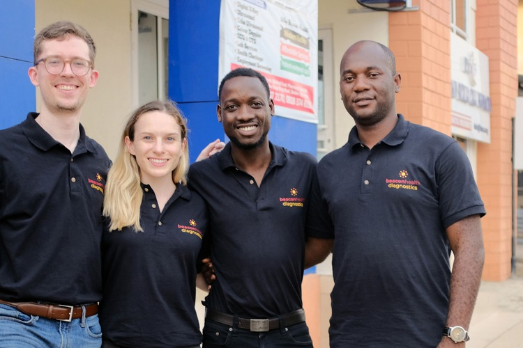 MDaaS Global co-founders in front of their clinic in Ibadan, Nigeria.