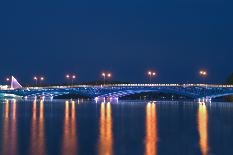 Nighttime view of Kenneth F. Burns Memorial Bridge