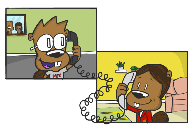 MIT Tim the Beavers talking on the phone
