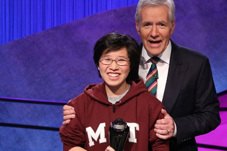 Jeopardy! host Alex Trebek congratulates Lilly Chin '17 on her College Championship victory in February.