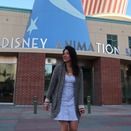 Woman standing in front of Disney Animation Studios
