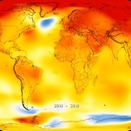 A heat map showing the areas of the earth that have risen in temperature consistently over the past for years