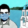 Illustration: a man wearing a protective mask with the Greek flag on it, in front of a Greek landscape with blue water and a white church